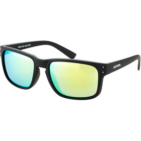 Alpina Kosmic Okulary rowerowe, black matt/neon yellow mirror